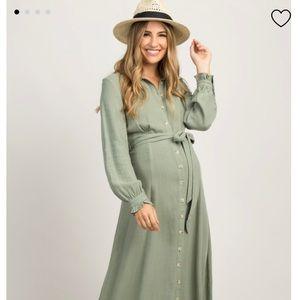 Olive Linen Button Up Maternity Maxi Dress M